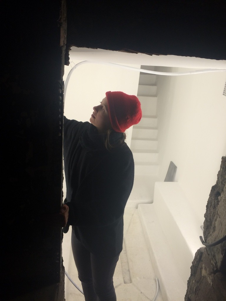 Elli Wieser (winter '15) working on her installion, DEN inside the Emporium storefront